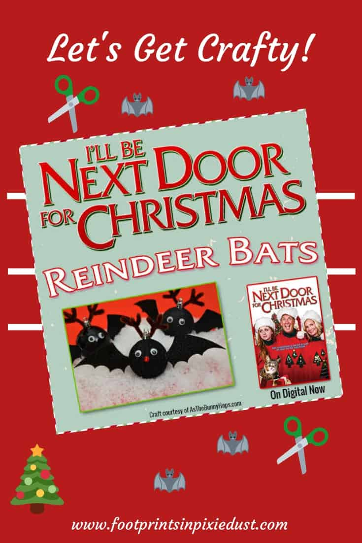 Reindeer Bat Craft: I'll Be Next Door For Christmas ~ #craft #printable #moviecraft #fpipd #footprintsinpixiedust #reindeerbats #reindeer #bats #artproject #familyactivity