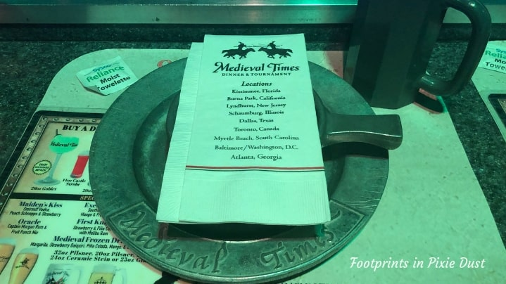 Medieval Times in Orlando - Place setting