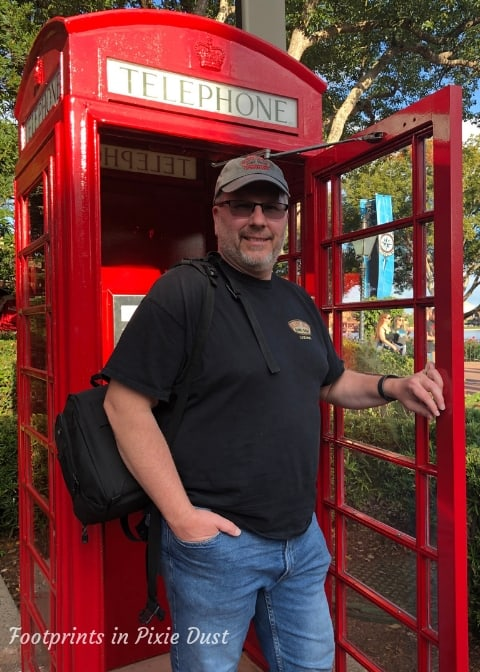 Hubby in the UK Phone Booth