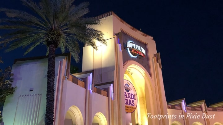 Universal Studios entrance at night