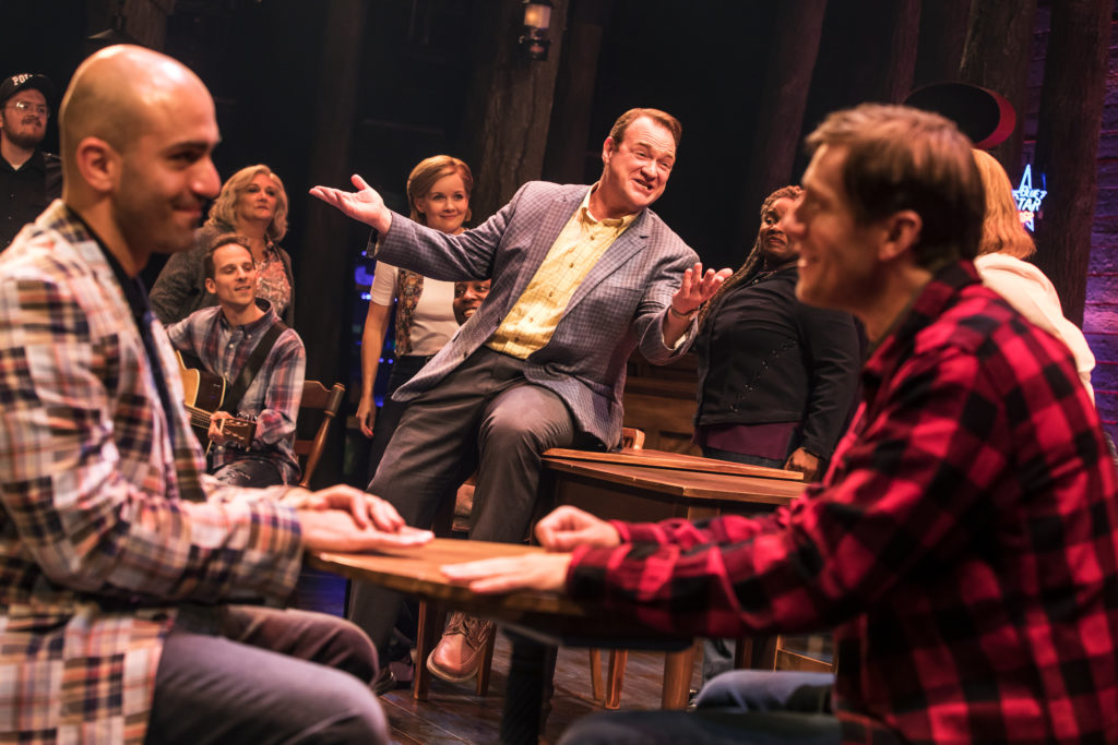 Nick Duckart, Kevin Carolan, Andrew Samonsky and Company in the First North American Tour of COME FROM AWAY, Photo by Matthew Murphy, 2018