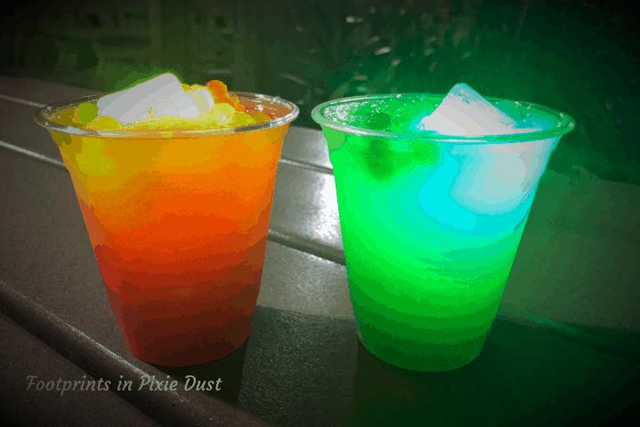 Our drinks at H2O Glow Nights ~ H2O Glow Nights at Disney's Typhoon Lagoon