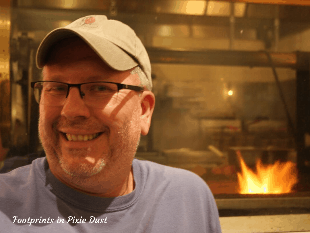 Disney's Vero Beach - Wind & Waves Grill - Birthday Boy in front of the fire