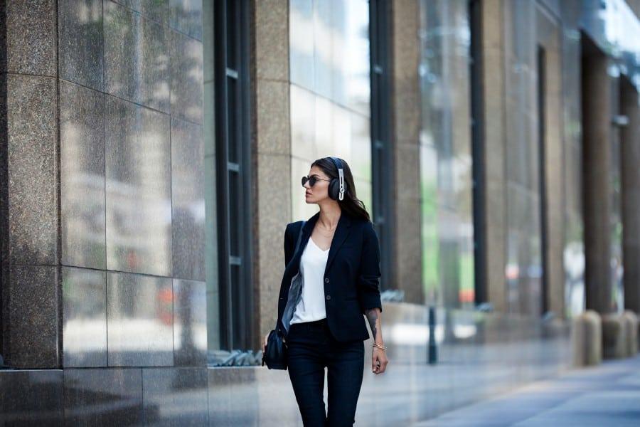 Woman with Sennheiser M3 Momentum Wireless Headphones