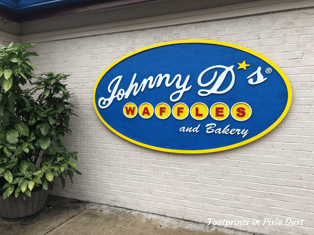 Johnny D's Waffles and Benedicts sign