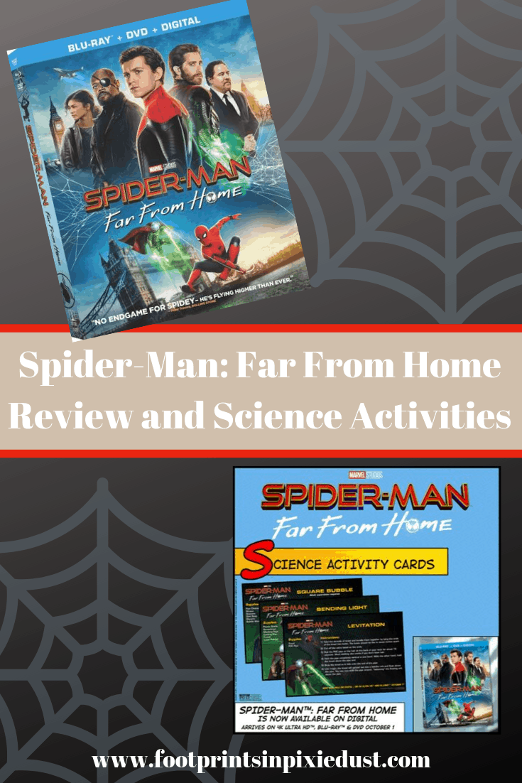 Spider-Man Far From Home Review and Activities pin