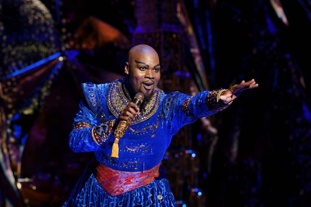Michael James Scott (Genie). Aladdin North American Tour. Photo by Deen van Meer