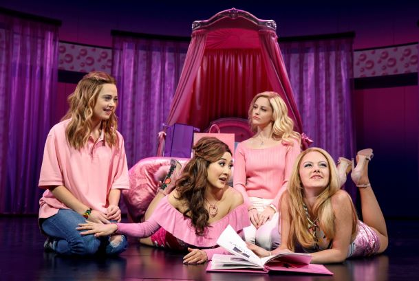 Book by Tina Fey, Music by Jeff Richmond, Lyrics by Nell Benjamin, Directed & Choreographed by Casey Nicholaw Pictured (L-R): Erika Henningsen (Cady Heron), Ashley Park (Gretchen Wieners), Taylor Louderman (Regina George), and Kate Rockwell (Karen Smith)