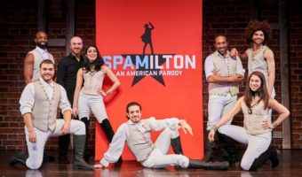 (left to right): The Company of Spamilton: An American Parody - Datus Puryear, Brandon Kinley (kneeling), Musical Director Curtis Reynolds, Ani Djirdjirian, Adrian Lopez (seated center), Chuckie Benson, Marissa Hecker (kneeling) and Dominic Pecikonis ~ Photo credit: © Roger Mastroianni