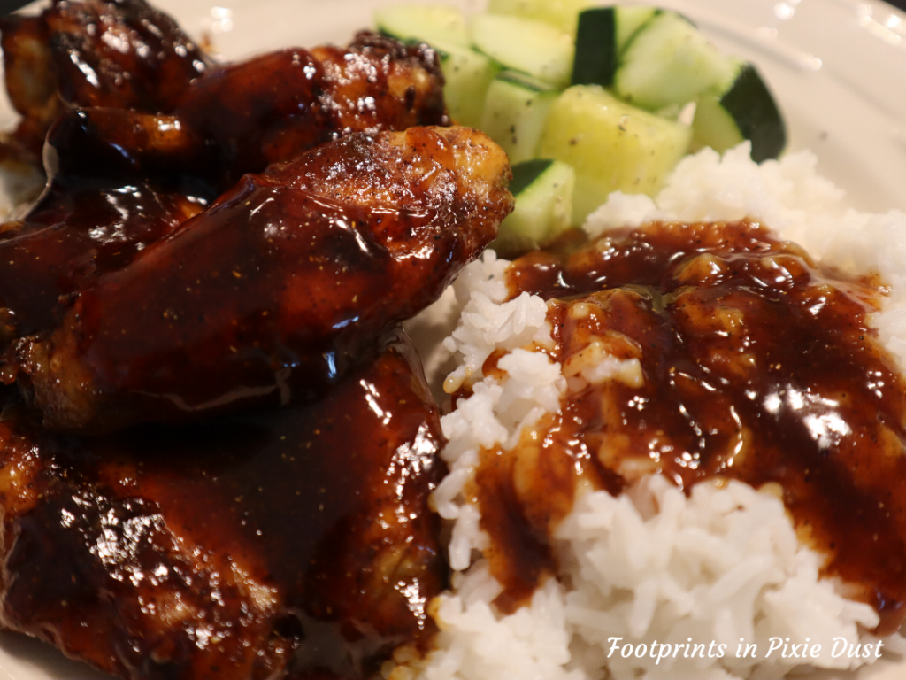 Disney Recipes at Home - Honey-Coriander Chicken Wings with Rice and Cucumbers