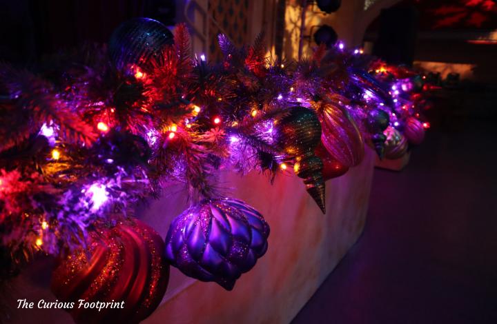 Busch Gardens Christmas Town 2020 - Decorations inside Dragon Fire Grill